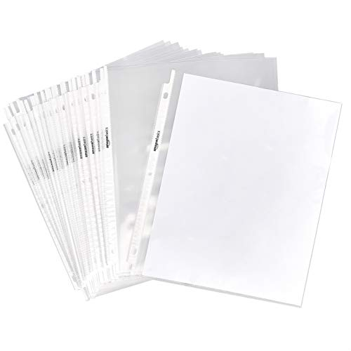 "AmazonBasics Clear Sheet Protector for 3 Ring Binder, 8.5"" x 11"" - 100-Pack"