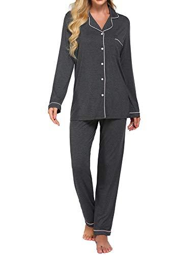 Ekouaer Women's Pajama Short Set Soft Cotton Pjs Sleeping Nightshirt(Deep Flower Gray,Large)