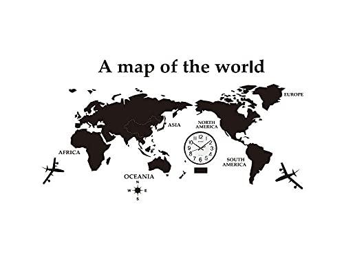 リビングルームのテレビの背景の装飾、オフィスやベッドルームブラウン250x135cmに適し時計ウォールデコレーションと取り外し世界地図アクリル3Dパズル (Color : ブラック)