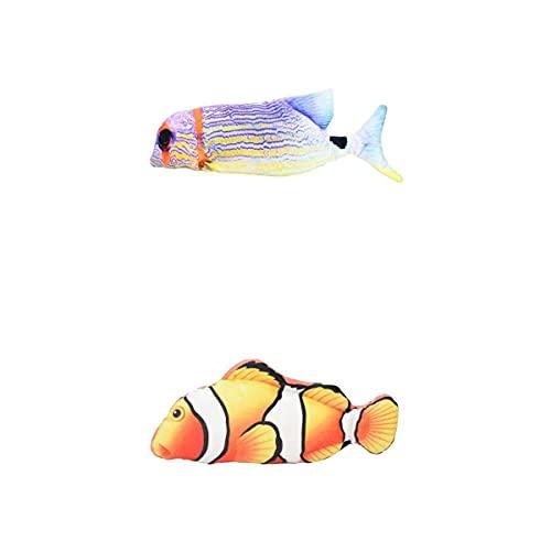 MagiDeal 2X Umzug Fischspielzeug Plüsch Elektrische Wackel Regenbogen Fisch Gelb Clown Fisch