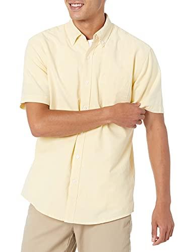 Amazon Essentials Herren Oxford-Hemd, reguläre Passform, Kurzarm, mit Brusttasche, Gelb (Yellow Yel), XXL