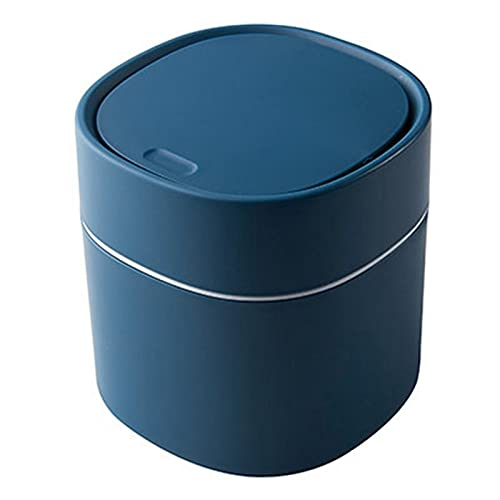KANGDILE Mini Bins de residuos pequeños Cesta de Basura de Escritorio con Tapa para la Mesa de baño de Mesa doméstica Basura de baño Puede suministrar Sundries Barrel Box (Color : Blue 2)