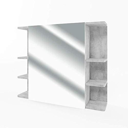 Vicco Armario con Espejo Fynn Espejo de baño hormigón 80 cm con estantes Mueble