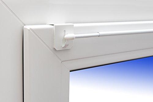 Dekohaken24 - Barra para cortinas Florida extraíble de 60-80 cm y 1 par de enganches universales para la parte superior de la ventana, color blanco