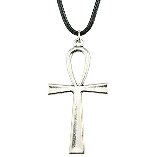 1 Piece 52x28mm Ankh Cross Pendant Necklace For Women Silver Plated Color Vintage Leather Chain Necklace