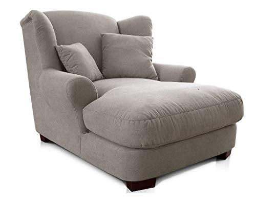 CAVADORE XXL-Sessel Oasis / Großer Polstersessel im modernen Design / Inkl. 2 schöne Zierkissen / 120 x 99 x 145 / Webstoff in elephant