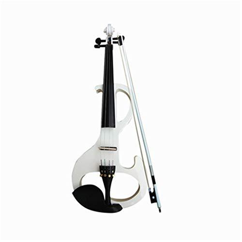 Goodvk Violín Electronic Totalmente Rojo-Blanco a Mano de Alta Gama Performance Violín Electro-acústica del Instrumento Musical Violín Adecuado para Principiantes (Color : White)