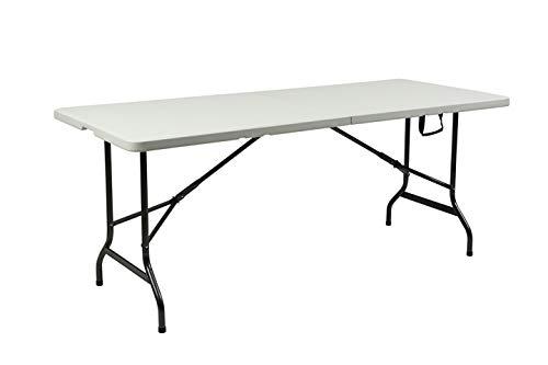 Wisam Tisch aus Kunststoff, Klapptisch Gartentisch Esstisch Campingtisch Koffertisch, klappbar 180cm, perfekt für Garten Balkon Camping
