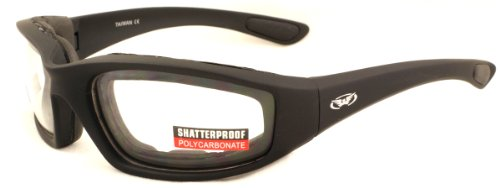 Clear motorcycle anti-fog glasses with E.V.A lining complete...