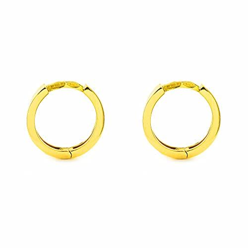 Pendientes oro amarillo Aros cierre clip 12x2 mm
