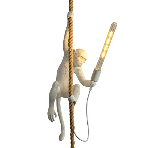 CHABEI Loft Vintage Resin Hemp Rope Monkey Pendant Light Fixture Chandelier Industrial Retro E26...