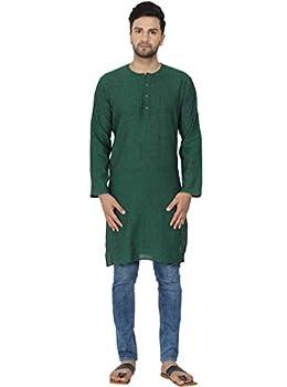SKAVIJ Men s Tunic Cotton Kurta Long Shirt Regular Fit  X-Large Green