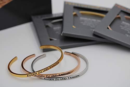 MEIN MANTRA by alexa Armreif - AUGEN ZU UND TANZEN - Farben: Silber/Roségold/Gold (Silber, Größe M-L (Standardgröße))