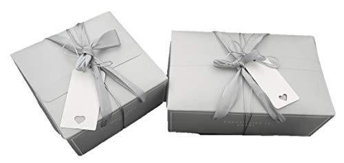 Cupcake-Box mit Griffen, 3 Stück, elegante silberne Bonbons, Macarons Box, Schokolade, Macarons, Cupcakes, Aufbewahrungsboxen, Geschenkverpackung, Geschenkanhänger, 21,5 x 14 x 8 cm