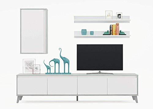 Telde Parete Attrezzata Soggiorno Salotto Mobile TV con 2 Mensole Legno Base Televisione Design Moderno Sala da Pranzo 200 x 50 x 41 cm Colore Bianco E Cemento
