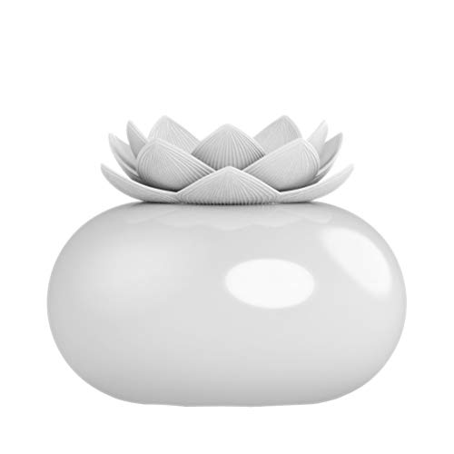 Healifty difusor de Aceite Esencial de cerámica humidificador de aromaterapia Loto Lindo Adornos de Escritorio para el hogar (Flor Blanca)