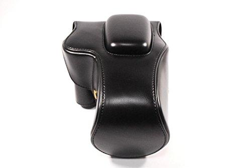 Canon EOS Kiss X9 専用 高級合皮レザー カメラケース クリーニングクロス付き キャノン イオス キス 207_1 (ブラック)