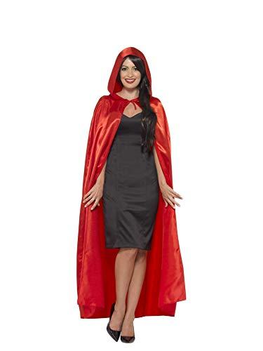 Smiffys-45529 Capa con Capucha, Saten, Color Rojo, Tamaño único (Smiffy'S 45529)