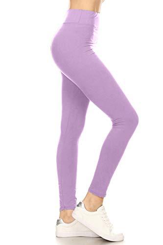 LYR128-LILAC Yoga Solid Leggings, One Size