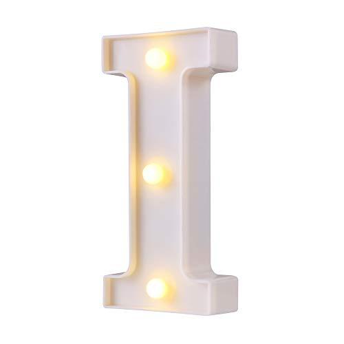 Luces LED para letras de marquesina, 26 letras del alfabeto con luz, perfecto para la luz de noche, boda, cumpleaños, fiesta, decoración del hogar, lámpara de Navidad (blanco, I)