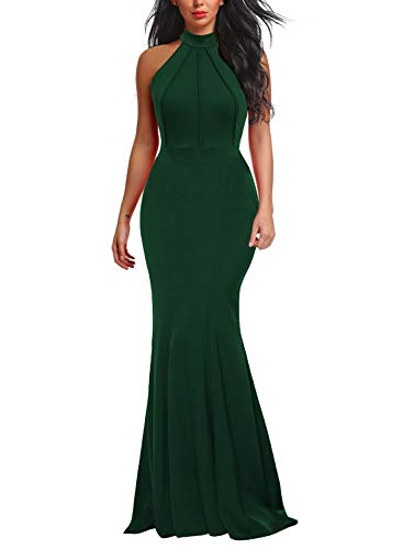Berydress Women's Sleeveless Halter Neck Mermaid Formal Long Evening Dress (M, 6075-Dark Green)