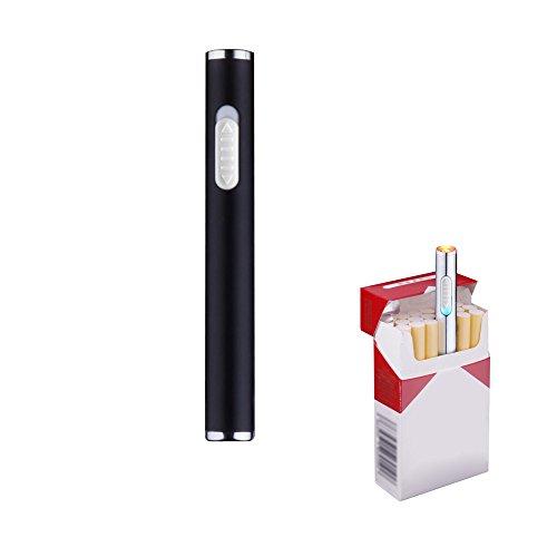 Mini USB de mechero, recargable, resistente al viento, mechero electrónico plasma sin llama, portátil, negro