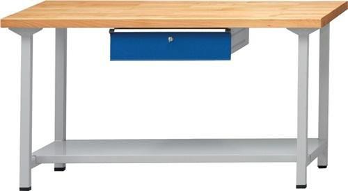 Anton Kessel GmbH Werkbank BL B2000xT700xH890mm Buche massiv lichtgrau enzianblau Anz. Schubl. 1