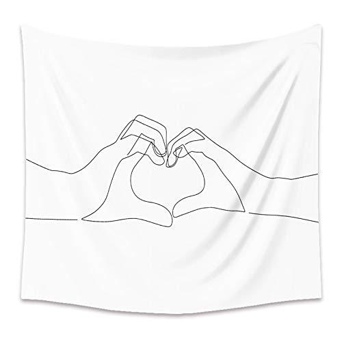 WERT Minimalista Literario Línea en Blanco y Negro Tapiz Decoración del hogar Tela Pintura Fondo Colgante de Pared para Dormitorio Dormitorio A11 95x73cm