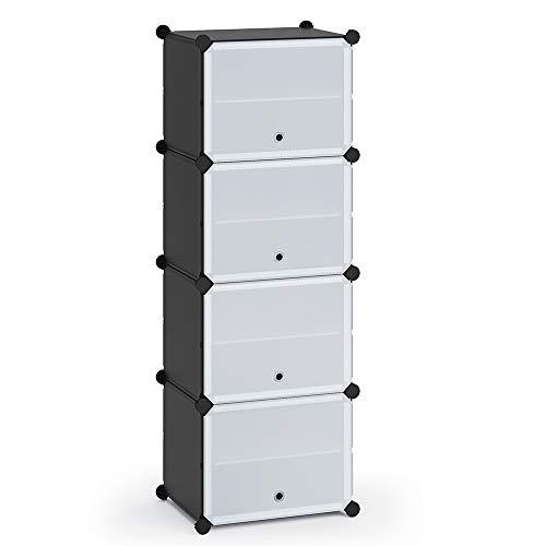 Vicco Schuhschrank modular DIY Steckregal System aus Kunststoff Garderobe Schuhregal (4 Fächer)