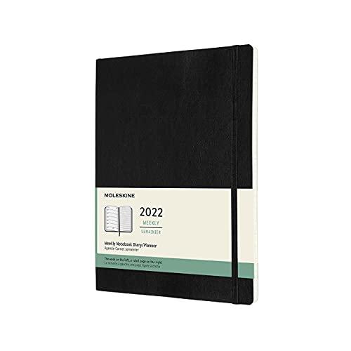 Moleskine DSB12WN4Y22 - Diario semanal de 12 meses, con tapa blanda, 2022, formato XL 19 x 25, color negro