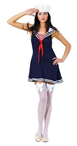 Karneval-Klamotten Sexy Matrosin Kostüm Damen Marine Damenkostüm blau-weiß-rot Karneval Kleid inkl. Matrosen-Mütze, Overknees