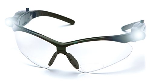 Pyramex PMXTREME Readers Bifocal Safety Glasses Eye Protection, Clear +1.5 Bifocal Lens, LED Temples