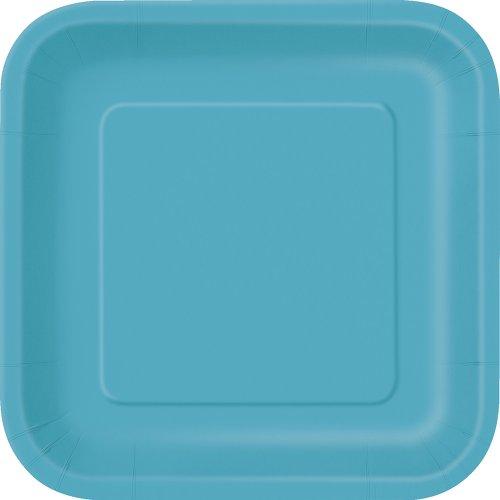 Unique Party - 32110 - Paquet de 16 Assiettes Carrées en Carton - 18 cm - Turquoise