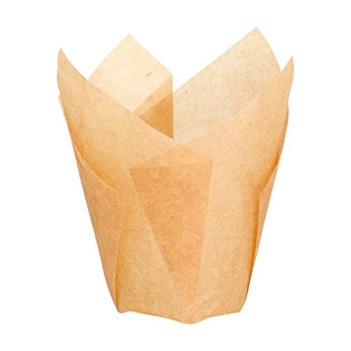 Tulips Golden Brown Silicone Baking Cup Liner (Case of 1000), PacknWood - Gold/Brown Parchment Paper Cupcake Liners (1.25 oz, 2.5' x 1.1') 209CPST1M