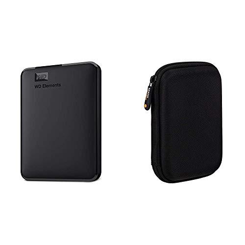 WD Elements - Disco Duro Externo portátil de 1 TB con USB 3.0, Color Negro + Amazon Basics - Funda de Disco Duro, Color Negro y Naranja