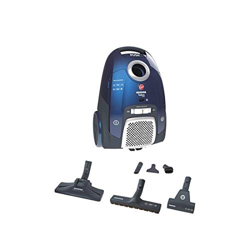 Hoover Telios Extra Pets Bagged Cylinder Vacuum Cleaner, TX50PET, Quiet, Compact, Carpets, Hard Floors, Allergy, Powerful, Tools Onboard, Blue