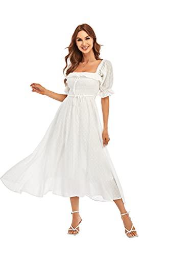R.YIposha Women Vintage Elastic Square Neck Ruffled Half Sleeve Summer Backless Beach Flowy Maxi Dresses,12-14,White