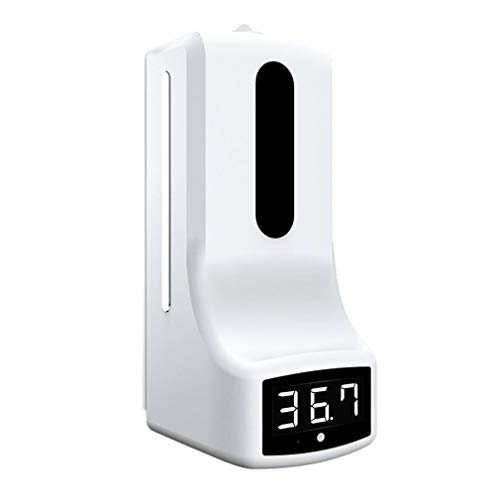 Newgreen K9 - Termómetro infrarrojo y dispensador de jabón/gel hidroalcohólico, ideal para centros comerciales