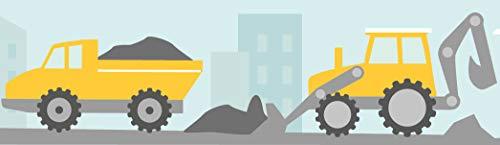 lovely label Bordüre Bagger und Baustelle Wandbordüre Kinderzimmer Gelb - Wandbordüre Kinderzimmer/BabyzimmerBaustelle - Wandtattoo Schlafzimmer Mädchen und Junge – Wanddeko Baby/Kinder
