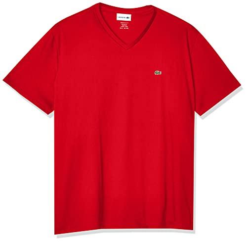 Lacoste Men's Short Sleeve V Neck Pima Jersey Shirt T-Shirt, TH6710, Red, X-Large