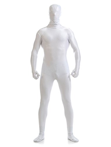 (YUUWA)全身タイツ 着ぐるみ 開口部のない ユニセックス 変装コスチューム ホワイト 男性S