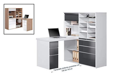 MAJA Möbel Minioffice, Holzdekor, Icy-weiß - Grau Hochglanz, 126,60 x 187,00 x 150,00 cm