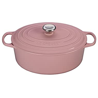 Le Creuset Signature Enameled Cast-Iron 6.75 Quart Oval French (Dutch) Oven, Chiffon Pink BonBon