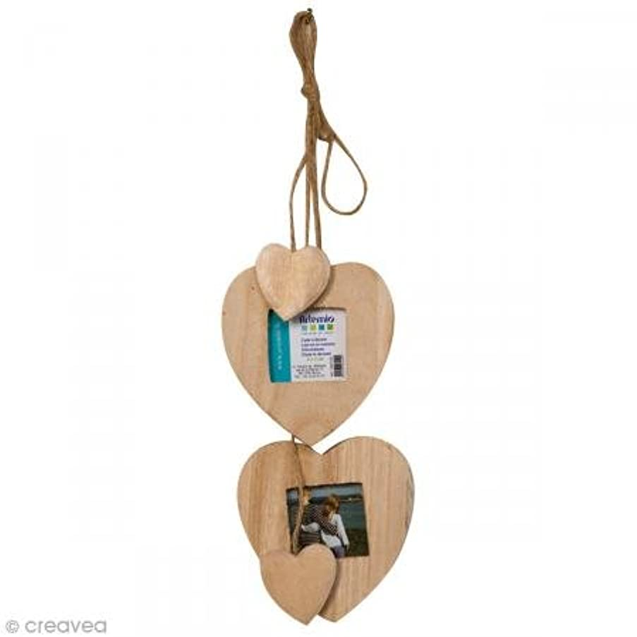 Artemio 14001196 Set of 2 Hanging Photo Frames with 2 Small Hearts, Wood, Beige, 9 x 3 x 9 cm