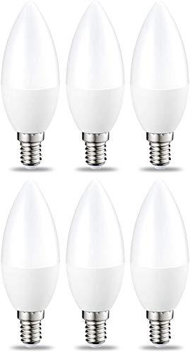 Amazon Basics Bombilla LED E14, 5.5W (equivalente a 40W), Blanco Cálido- 6 unidades