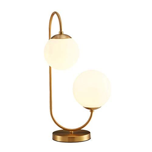 Lámparas de mesa y mesilla de noche Dormitorio cobre Tabla de color de la lámpara moderna minimalista Individualidad Creatividad lámpara de cabecera decorativo Estudio Mesilla de noche de la lámpara L