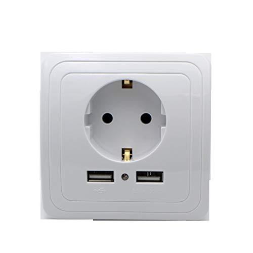 Interruptor táctil de pared para el hogar inteligente Enchufe europeo/Reino Unido y UE Interruptores USB dobles Cristal de cristal 1 2 3 Gang 1 Way White EU Plug Socket