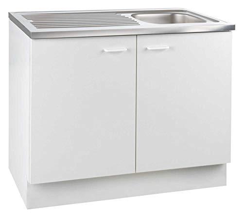 Spülenunterschrank Küchenschrank | Dekor | Weiß | 2 Türen