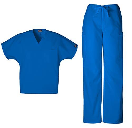 Cherokee Workwear Men's Dental/Medical Uniform Scrub Set - 4777 V-Neck Scrub Top & 4000 Drawstring Cargo Pants (Royal - Medium/Medium)