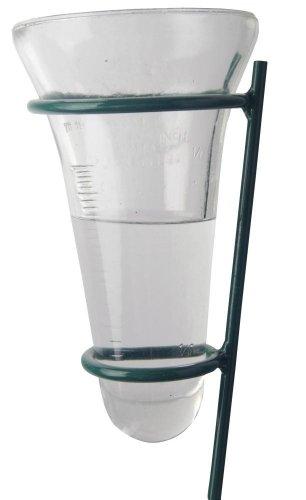 Esschert Design Regenmesser, Niederschlagsanzeiger mit Glaseinsatz auf Stab, ca. 12 cm x 12 cm x 134 cm